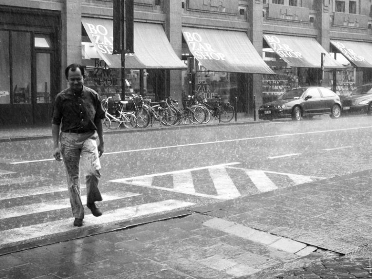 Man in Rain B&W